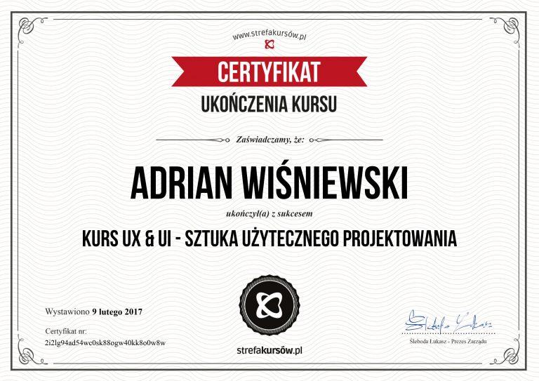 certyfikat UX